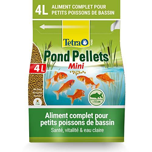 Tetra Pond Pellets Mini – Alimentation Quotidienne idéale pour tous les Petits Poissons de Bassin jusqu'à 15 cm – Mini Granules Enrichis en Oligo-éléments, Vitamines essentiels, Caroténoïdes – 4 L