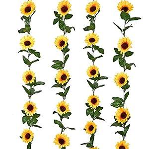 LSKY 4Pc 7.3ft/pc Artificial Sunflower Garland with 40pc Sunflower Heads Silk Flower Ivy Vine Garland Sunflower Decor for Home Kitchen Wedding Arch Baby Shower Decor