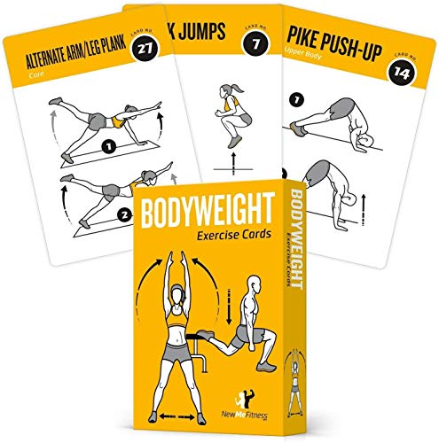 Bodyweight Exercise Cards Home Gym Workout Personal Trainer Fitness Program Guide Tones Core Ab Legs Glutes Chest Bicepts Total Upper Body Workouts Calisthenics Training Routine