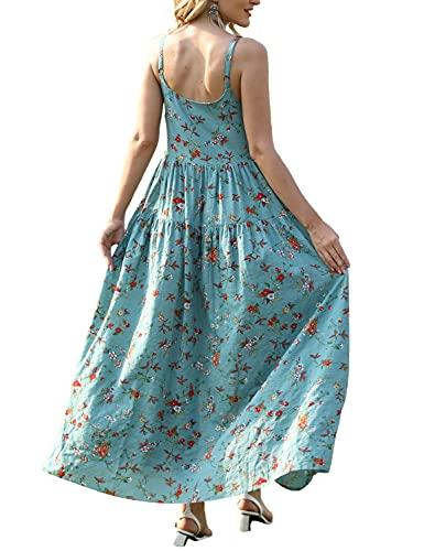 YESNO Women Casual Loose Bohemian Floral Print Dresses Spaghetti Strap Long Maxi Summer Beach Swing Dress 3XL E75 CR14