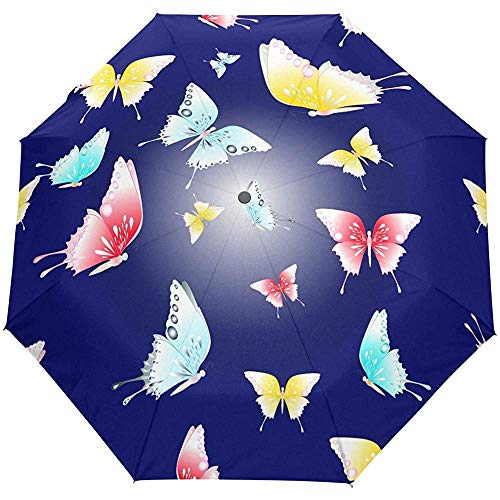 Vintage Colorful Butterfly Auto Open Close Umbrellas Anti UV Folding Compact Automatic Umbrella