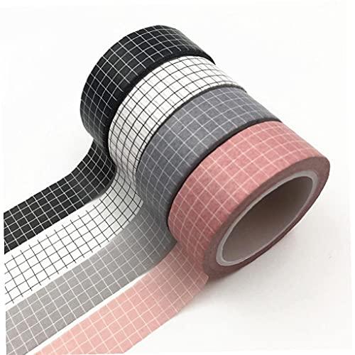 TOSSPER 4pcs 10m Y Rejilla Washi Tape Japonesa Red De Papel Washi Tape, Escribible a Cuadros De La Cinta Adhesiva De La Chatarra De Reserva Decoración
