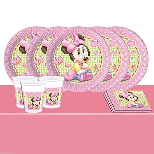 Disney Babyparty Minnie Maus Vajilla para Fiesta- Set de fiesta para 16, Vasos Platos Servilletas