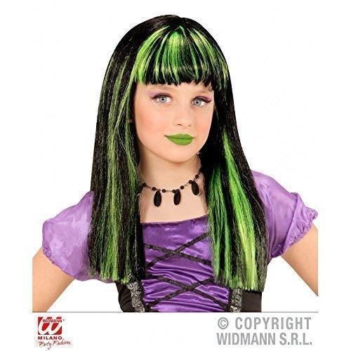 Perruque enfants sorcière en noir avec grünen mèches / Perruque de Cheveux Synthétiques / Perruque à longs cheveux