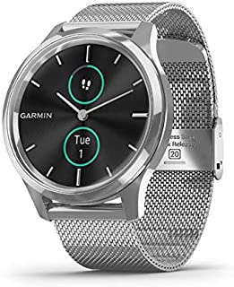 Garmin vívomove Luxe, Hybrid Smartwatch with Real Watch Hands and Hidden Color Touchscreen Displays, Silver with Silver Mi...