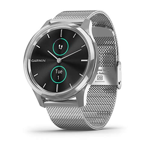 Garmin vivomove Luxe, Hybrid Smartwatch with Real Watch Hands and Hidden Color Touchscreen Displays, Silver with Silver Milanese Band