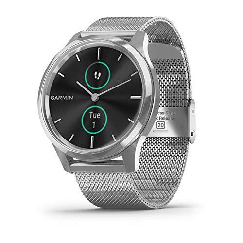 Garmin Vivomove Luxe Smartwatch Hybrid Analog Digital Unisex, Silbernes Gehäuse, Maglia Milano Stahlband 010-02241-03
