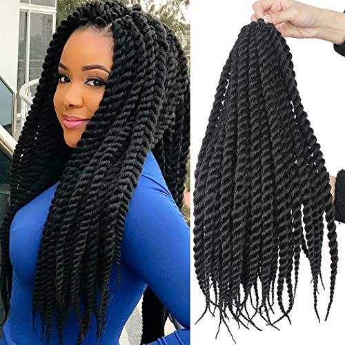 Dorsanee Senegalese Twist Crochet Braid Pre-twisted African Braiding Hair Knotless Twist Braids Dreadlocks Box Braid Crochet Hair for Black Women (18inch, 1B#)