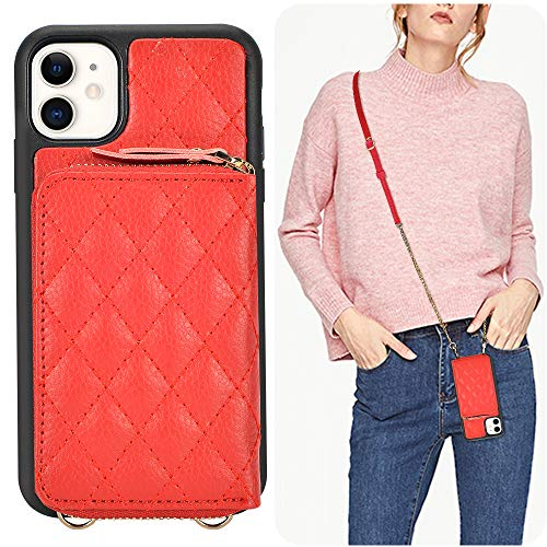 LAMEEKU iPhone 11 Wallet Case, iPhone 11 Crossbody Wallet Case Quilted Leather Card Holder for Lady with Wrist Strap Protective Bumper Compatible with iPhone 11, 6.1 Inch-Red