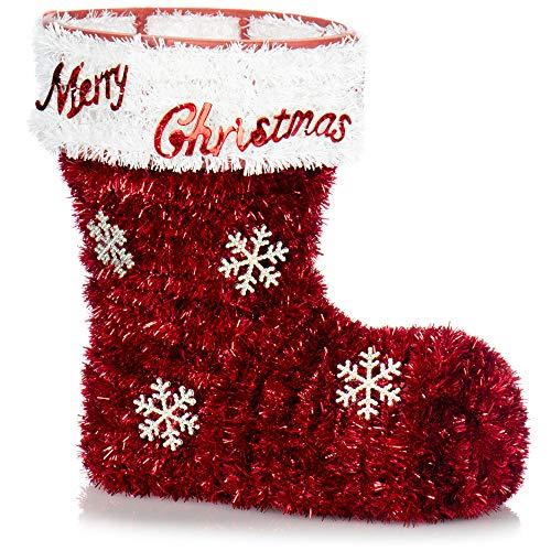 com-four® Botas de decoración navideña - Recipiente Brillante para Dulces, Flores secas y pequeños obsequios - decoración de Habitaciones para Navidad y Adviento (01 Pieza - Botas Rojas)
