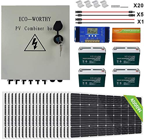 ECO-WORTHY 3900W Off Grid Complete Solar Panel Kit 48V Solar System with 20pcs 195W Solar Panel+ 6 String PV Combiner Box+ 4pcs 100AH Battery+ 60A LCD Controller+ 3500W Off Grid Inverter