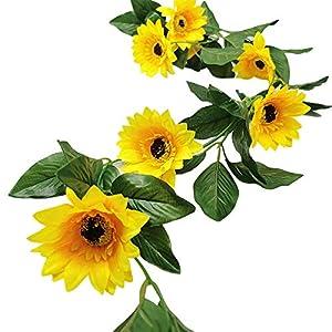 NOONE Sunflower Garland Silk Garden Craft Artificial Flower Leaf Plants Wedding Decor Fake Swag Hanging Wreath