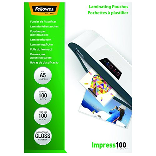 Fellowes 5351002 - Pack de 100 fundas para plastificar, A5,