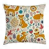 ABAKUHAUS Fuchs Kissenbezug, Füchse, Blumen & Vögel Muster, 40 x 40 cm, mit versteckten Reißverschluss Waschbar Beidseitiger Digitaldruck Klare Farben, Mehrfarbig