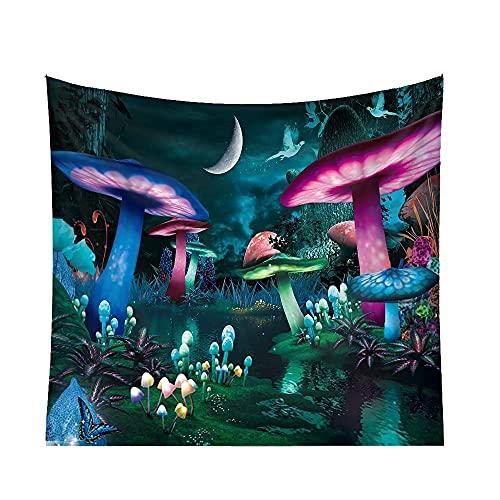 RUMUI Tapiz Colgante de Pared de Cuento de Hadas de ensue?o Alfombra de Hongo Fluorescente Galaxy Forest decoración Maravillosa para habitación hogar 150x130cm