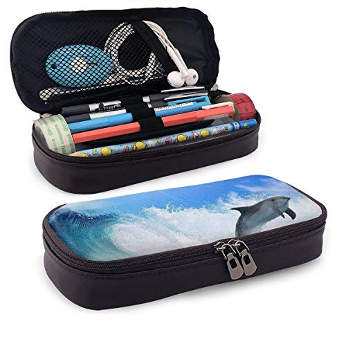 Jump Dolphin Sunshine Wave Pencil Bag Large Capacity Pen Pouch Durable Pencil Organizer Holder Practical Makeup Cosmetic Coin Bag for School Supplies Office