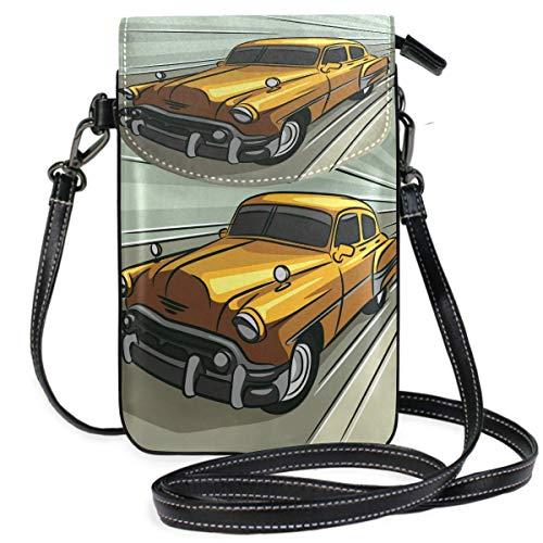 Vintage Auto Geschwindigkeit über die Straße Kleine Umhängetasche Handy Geldbörse Brieftasche Leichte, geräumige Taschen Smartphone-Tasche für Frauen Mädchen Teenager
