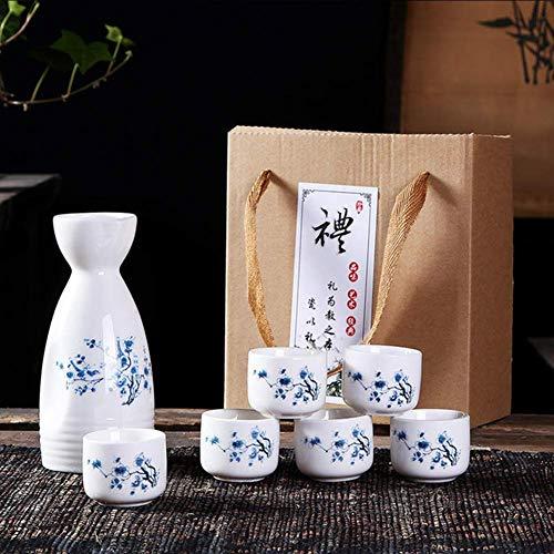 SAFGH Juego de Sake juego de Sake de cerámica de 7 piezas, con 6 tazas de Sake, Estilo Chino Clásico, diseño Pintado a Mano, artesanías de tazas de cerámica tradicionales de cerámica, con
