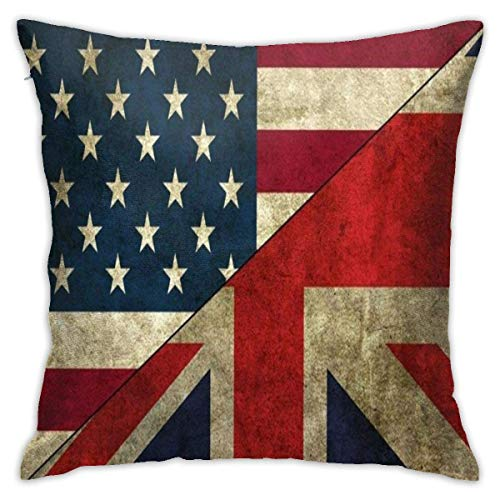 British American Flag Throw Pillow Covers Classical Cushion Case Soft Comfy...