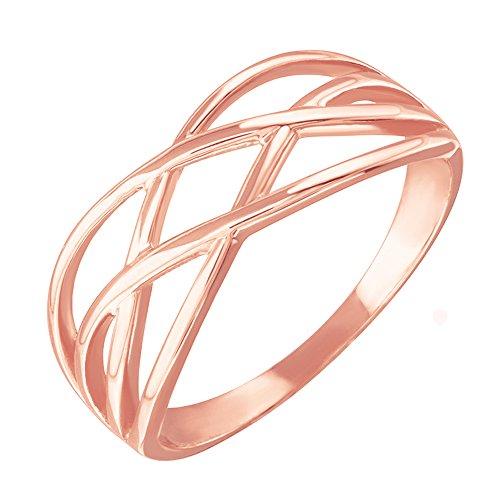 Modern Contemporary Rings High Polish 10k Rose Gold Celtic Knot Ring for Women (Size 8)