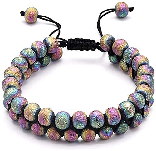 Pulsera de la riqueza Feng Shui Doble fila Lava Rock Stone Turquoise Agate Beads Braided Rope Pulsera para mujeres hombres ajustables Puede traer suerte y prosperidad ( Color : Multicolored Agate )