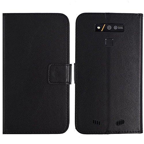 TienJueShi Negro Book Style Funcion de Soporte Funda Caso Carcasa Proteccion Cuero Skin Case Cover Etui Para Doogee S50 5.7 inch