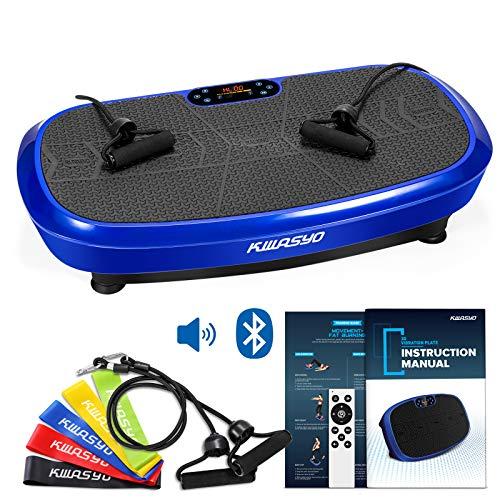 3D Power Vibrationsplatte| Fett verlieren und Fitnesstraining von Zuause | 10 Trainingsprogramme + 99 Stufen | Bluetooth Lautsprecher | 2 den Widerstandsbändern+5 Fitness-Bänder Extra+Remote & Poster