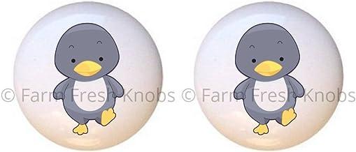 SET OF 2 KNOBS - Penguin - Baby Animals - DECORATIVE Glossy CERAMIC Cupboard Cabinet PULLS Dresser Drawer KNOBS