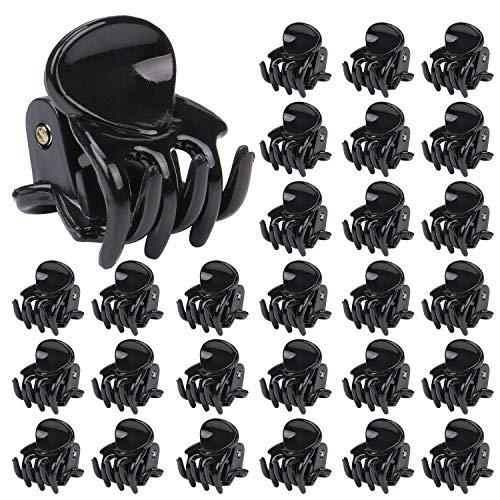 TsunNee Mini-Haarspangen, Kunststoff-Haarklammern, kleine Haarnadeln, Klemmen für Mädchen und Frauen, schwarz, 48 Stück