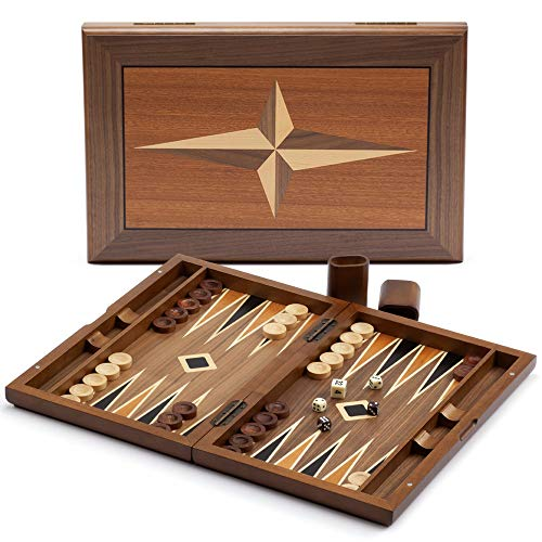 Premium Wooden Inlay Backgammon Board Game Set (Several Styles Available) (Star - 15 Inches)
