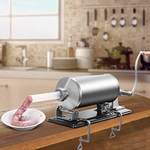 COSTWAY 4,8L Insaccatrice per Salsiccia, Macchina per la Produzione di Salsicce, Insaccatrice Manuale per Uso Domestico, Salsicce Siringa con 4 Tubi di Riempimento