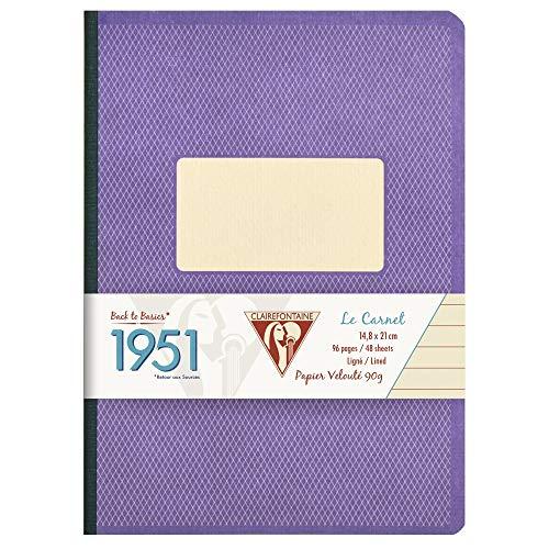 Clairefontaine Terug naar Basisboeken 1951 9 x 14 cm Notitieboekje, Gevoerd, 96 Pagina's linnen A5 Paars