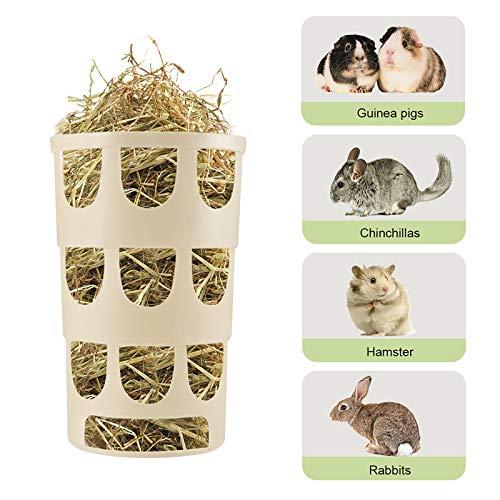 Furpaw Mangiatoia per Coniglio, 2 Modi Fissi Piccola Ciotola Mangiatoia per Fieno Conigli Nano Appesa Alimentatore, Cremagliera per Mangimi per Fieno di Porcellini d India - Cachi