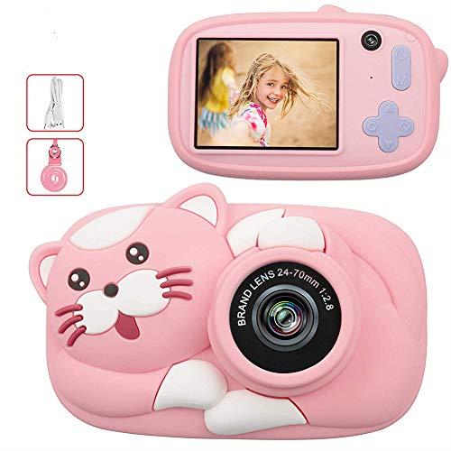 MRXUE fotocamera voor kinderen, schokbestendig display, oplaadbaar, 2,4 IPS, lens voor en achter, 4-voudige zoom, goed cadeau voor kinderen van 3 tot 10 jaar