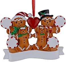 MAXORA Gingerbread Family of 4 Personalized Ornament for Christmas Tree Decoration - Free Customization