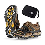 RUPUMPACK Crampons Ice Cleats Traction Snow Grips for Boots Shoes Men Women Kids, 23 Stainless Steel Micro Spikes, Anti Slip Safe Protect for Walking Fishing Jogging Climbing Hiking Mountaineering