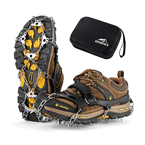 RUPUMPACK Crampons Ice Cleats Traction Snow Grips for Boots Shoes Men Women Kids 23 Stainless Steel Micro Spikes Anti Slip Safe Protect for Walking Fishing Jogging Climbing Hiking Mountaineering