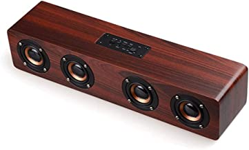 Wooden Wireless Bluetooth Speaker Home Computer Mobile Phone TV Sound Fighter Card Audio (Color : Red Wood Grain) photo
