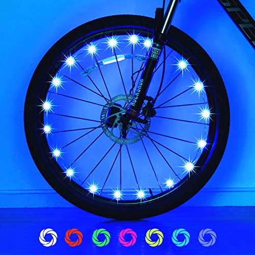 Exwell Bike Wheel Lights, 7 Colors in 1 Bike Lights,Safety at Night,Switch 9 Modes LED Bike Accessories Lights, AA Batteries(2 Pack) (USB Rechargable - 1Pack)