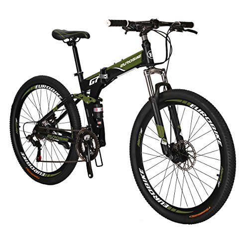 Eurobike G7 Mountain Bike 21 Speed Steel Frame 27.5 Inches Spoke Wheels Dual Suspension Folding Bike Army Green