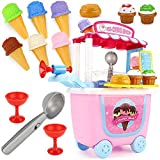 JOYFULBID Ice Cream Toy Set-Pretent Cart for Kids,Pretend Playset 31PCS Toys Playgo with Carrying Case, Gift for Children Toddlers Girls Boys Kids