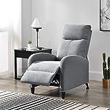 [en.casa] Polstersessel Bregenz Relaxsessel Relaxliege 102x60x92 cm Liegesessel Fernsehsessel Sessel mit Verstellbarer Rückenlehne TV Sessel aus Textil Hellgrau