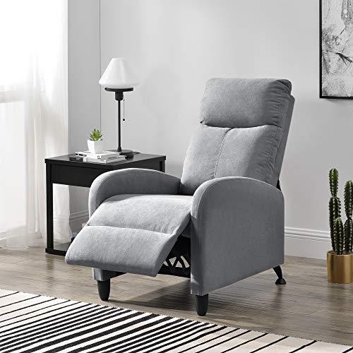 [en.casa] Sillón Relax Elegante Butaca Reclinable 102x60x92 cm Asiento cómodo Poliéster Gris Claro