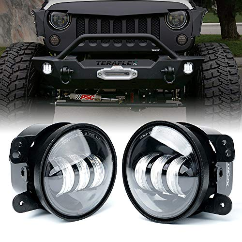 Xprite 4 Inch LED Fog Lights Compatible with Jeep Wrangler JK Unlimited JKu 2007-2018 | Front Bumper Replacements 60W White CREE Led Chip Driving Offroad Foglights