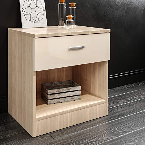 450mm Bedroom Furniture Set Beside Table Cabinet with 1 Chest of Drawer and 1 Shelf High Gloss Cream/Oak Bedroom Bed Side Storage NightStand Telephone Side Table Unit