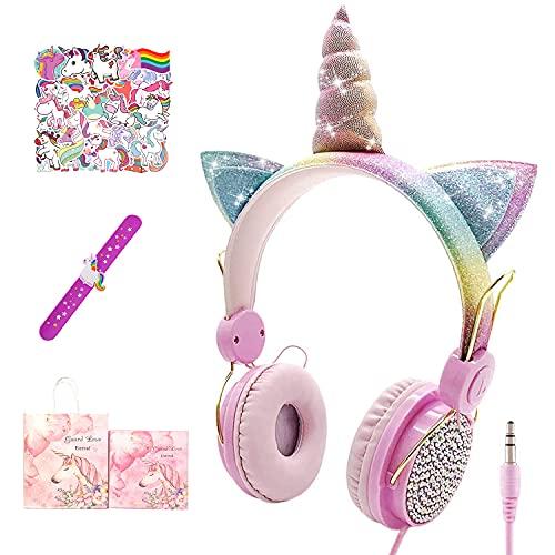 Cuffie Unicorno Bambina, Cuffie over-ear per Ragazze Cuffie Unicorno Cuffie Da Gioco Per Bambini Con Limitazione Del Volume Di 85 Db, per Smartphone Laptop PC Regalo Di Compleanno