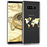kwmobile Hülle kompatibel mit Samsung Galaxy Note 8 DUOS - Handyhülle - Handy Hülle Travel Umriss Gold Transparent