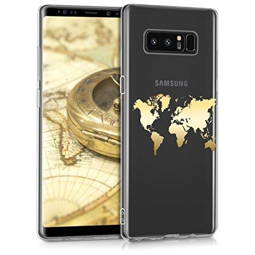 kwmobile Cover Compatibile con Samsung Galaxy Note 8 DUOS - Back Case Custodia Posteriore in Silicone TPU Cover per Smartphone - Back Cover Contorni Oro Trasparente