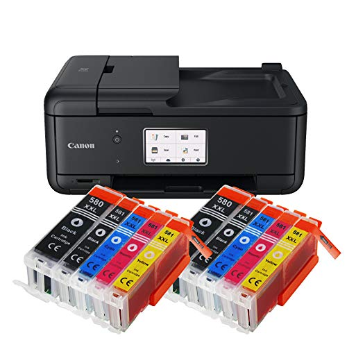 Canon Pixma TR8550 TR-8550 Farbtintenstrahl-Multifunktionsgerät (Drucker, Scanner, Kopierer, Fax, USB, WLAN, LAN, Apple AirPrint) Schwarz + 10er Set IC-Office XXL Tintenpatronen 580XXL 581XXL