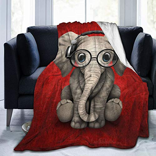 """JHVL4 FlannelFleeceBedBlanketsLightweightCozyThrowBlanketforCouchSofaBedroomAdultsKids,Cute Baby Elephant Dj Wearing Headphones and Glasses On Red Carry-All Pouch,80""""X 60"""""""